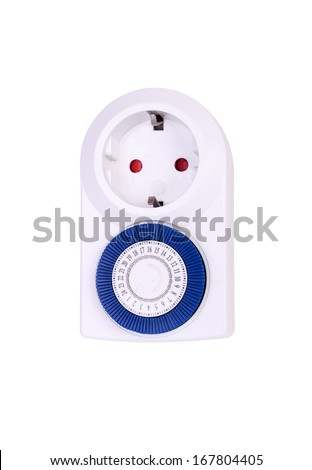 White  electrical socket blue with timer isolated on white background - stock photo