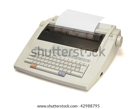 white electronic typewriter with paper sheet on a white background.