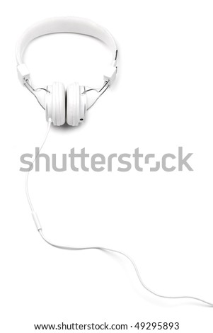 White elegance headphones with cord isolated on white background. White on white series. Vertical composition. - stock photo