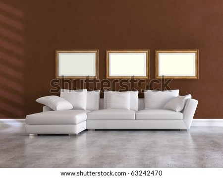 white elegant couch in a minimalist brown living room - rendering - stock photo