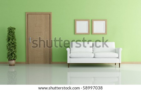 white elegant sofa in a green interior - rendering