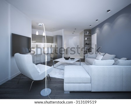 White elegant studio apartment. Blue and white walls, corner sofa with pillows, small kitchen on background. 3D render