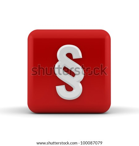 White embossed and bevelled paragraph symbol on a 3d render red cube - stock photo