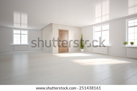 white empty abstract interior-3D rendering - stock photo