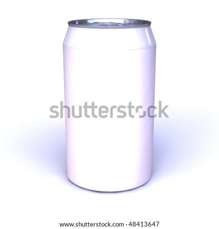 white empty aluminum can isolated on white background