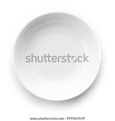 White empty bowl isolated on white background, top view