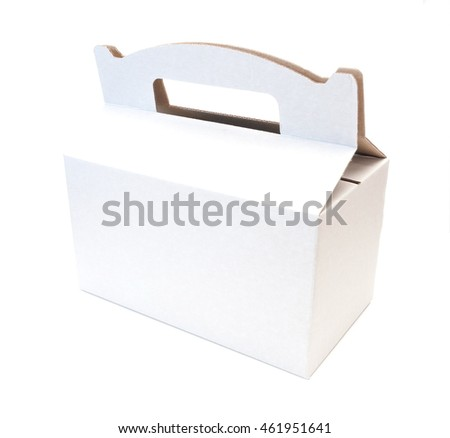 white empty box with handle isolated over a white background, cardboard box isolated on a white background