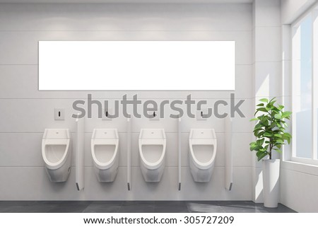 White empty canorama canvas in public restroom with urinals (3D Rendering) - stock photo