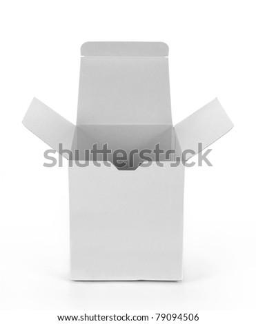 white empty cardboard box isolated on white background - stock photo