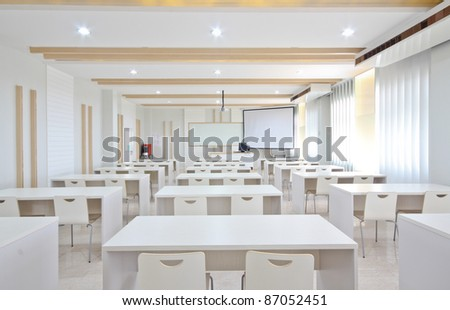 white empty classroom. - stock photo