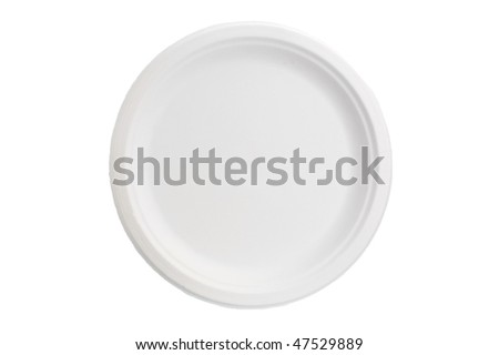 White empty clean paper plate on white background