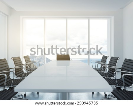 White empty conference room. 3d rendering - stock photo