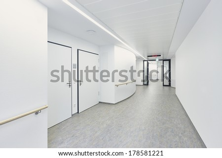 White empty corridor in a hospital - stock photo