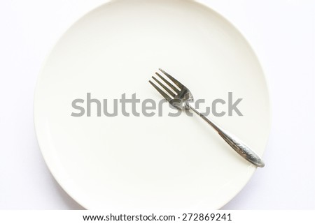 white empty dish with fork on white background