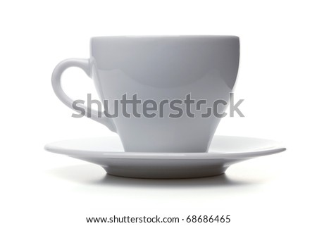 White empty espresso cup. Isolated on white background - stock photo