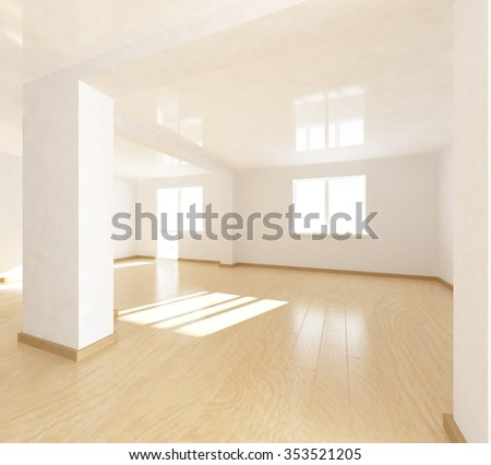 White empty flat. 3d illustration - stock photo