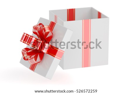 White empty gift box with red ribbon and bow, 3D rendering isolated on white background