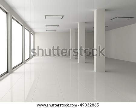 white empty hall with pillar - stock photo