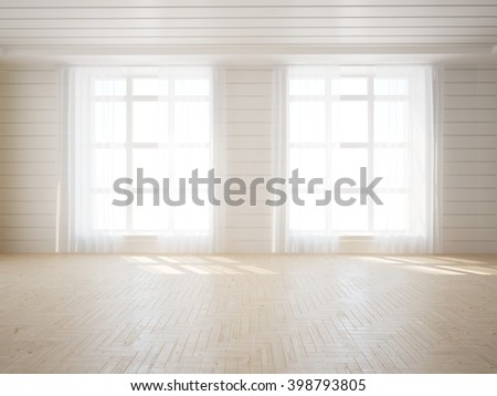 White empty interior  - 3d illustration - stock photo