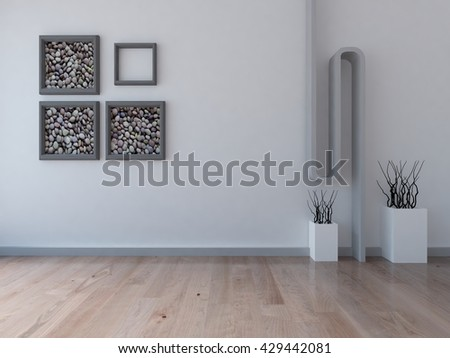 White empty interior. 3d illustration - stock photo