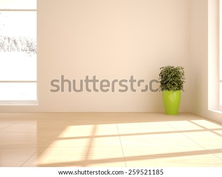 white empty interior-3D rendering - stock photo