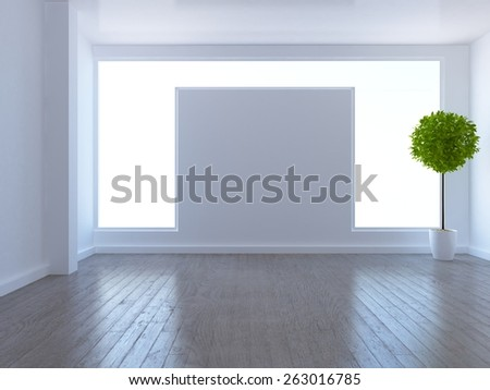White empty interior. 3d rendering - stock photo
