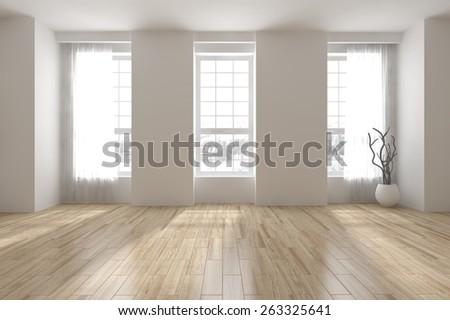 white empty interior design-3D rendering - stock photo