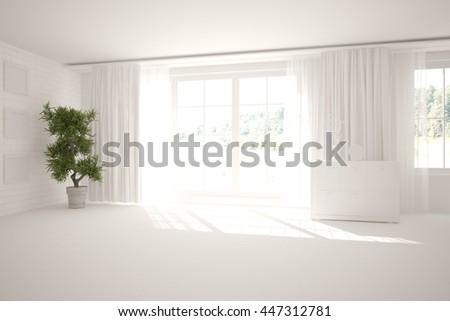 white empty interior design with panoramic windows. Scandinavian style. 3D illustration - stock photo