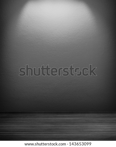 white empty interior of vintage room without ceiling from grey stone wall and wood floor - stock photo