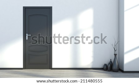 white empty interior with a black door and vase - stock photo