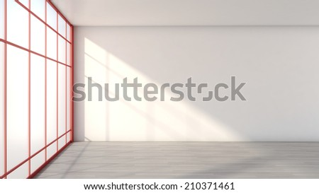 white empty interior with a large window - stock photo