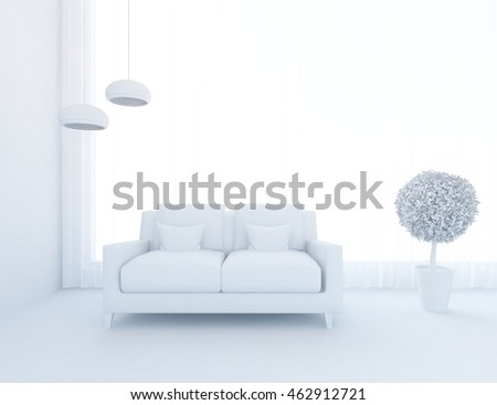 white empty interior with a modern sofa vases and lamps. 3d illustration
