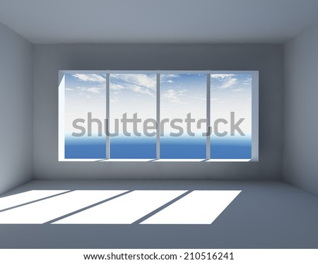 White empty interior with big window 3D render. - stock photo