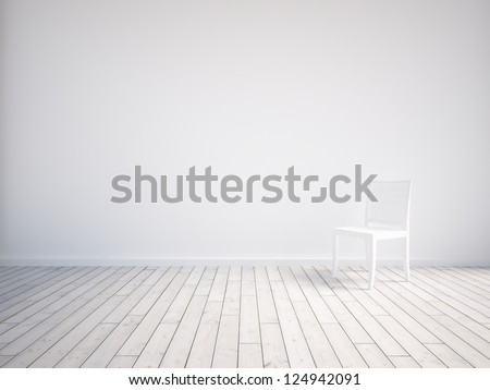 white empty interior with chair - stock photo