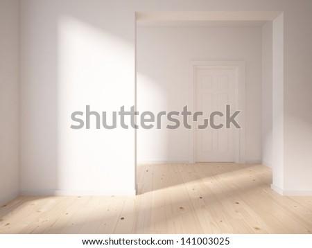 white empty interior with door - stock photo