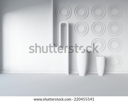 white empty interior with frames - stock photo