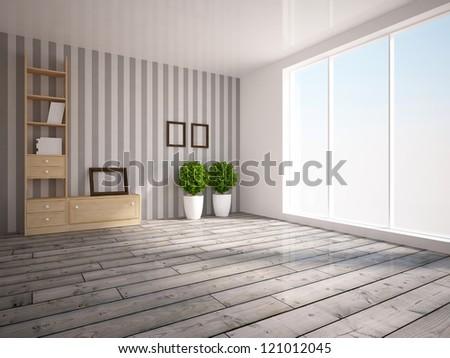 white empty interior with gray wooden floor - stock photo