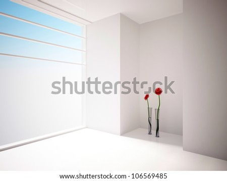 white empty interior with red flowers - stock photo