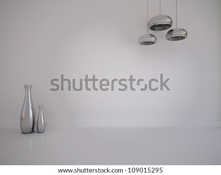 white empty interior with vases and lamps - stock photo