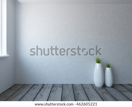 white empty interior with vases 3d illustration
