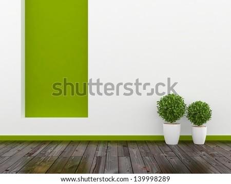 white empty interior with wooden floor - stock photo