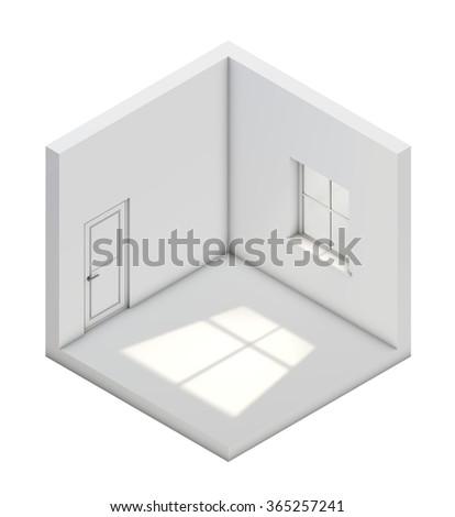 White empty isometric room template. - stock photo