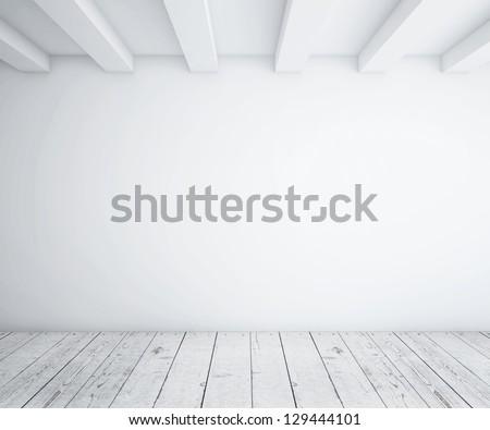 white empty loft room and wood floor - stock photo