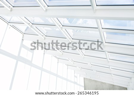 White empty modern office building interior with window shadow - stock photo