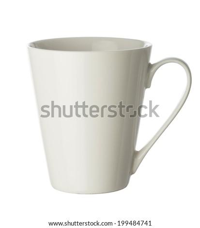 White empty mug isolated on white - stock photo