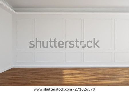 White empty old room with stucco on walls (3D Rendering) - stock photo