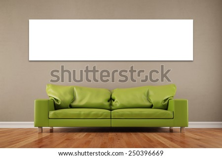 White empty panorama canvas on wall over sofa in a living room (3D Rendering) - stock photo