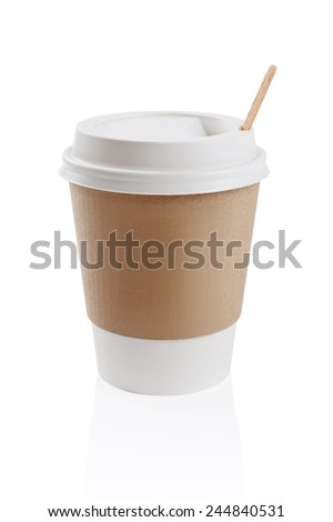 White empty paper cup isolated on white - stock photo