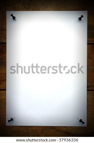 White empty paper on wooden background