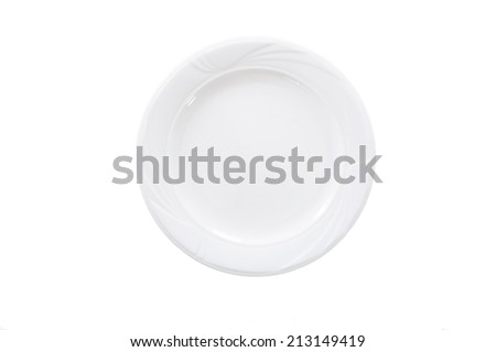 White Empty Plate isolated on White background